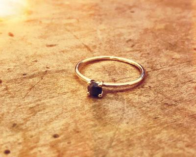 Steinchenring Schwarzer Diamant